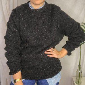 80s Vintage Scotland Black Speckled Wool Sweater
